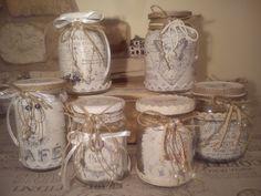 Vasetti con pizzo stile shabby by le signore della - Vasetti vetro decorati ...