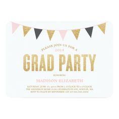 Glitter Bunting   Graduation Party Invitation