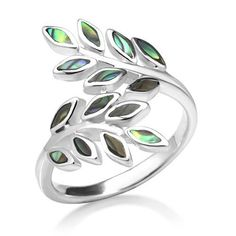 Nickel Free 925 Sterling Silver Green Abalone Shell Ivy Leaf Vine Design Ring 23 mm Wide Women Fashion Jewelry Size 6, 7, 8 -- $14.99 - $22.99