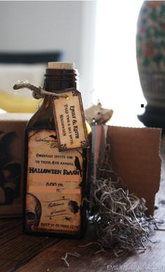 Halloween invitation on an old medicine bottle. So creative! Im sooo doing! Halloween Party Invitations, Party Favors, Old Medicine Bottles, Mini Champagne Bottles, Wine Bottle Art, So Creative, Christmas Carol, Fall Halloween, Holiday Fun