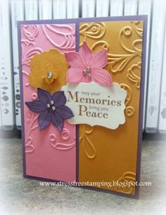 two-toned card with flowers  and using embossing folders (try embossing flowers)