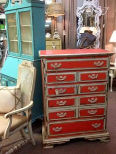 Fun chest of drawers by Faith Hope Love Vintage on Facebook.   She used Caribbean Coral Farmhouse Paint.