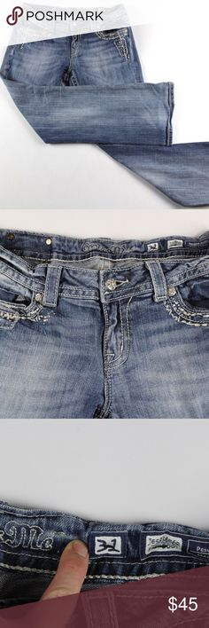 Miss Me Size 31 Easy Boot Cut Embellished Jeans Miss Me Easy Boot Dazzled Denim Jeans  Boot Cut Jeans  Comes from a smoke-free household  The size is 31 with a 31 inch inseam  Medium Wash  Cotton  Check out my other items in my store!  A27 Miss Me Jeans Boot Cut