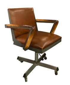 leather antique wood office chair leather antique. Brilliant Office Fabulous 1920s Vintage Antique Brown Leather Stud Detailed Captains  Swiveling Office Desk Chair Seat  Desks Antiques And Leather To Wood A