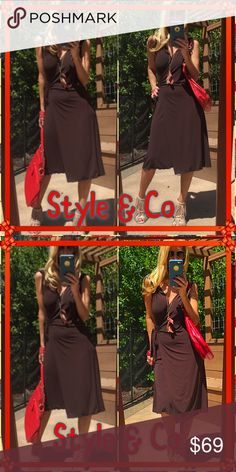 👄Wrap👄 Brand New Tags deep brown slinky body hugging wrap!. What not to love? Nothing it's fabulous!👄. I'm wrap mad they are the best invention and so classy!. You'll be glad you did I promise👄👄. Style & Co Dresses