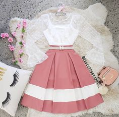 Cute tween two pics top and skirt A liss top with a pink and Wight style skirt Cute Casual Outfits, Girly Outfits, Mode Outfits, Skirt Outfits, Pretty Outfits, Pretty Dresses, Stylish Outfits, Beautiful Dresses, Teen Fashion Outfits