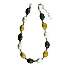Oval Lentil Tri Tone Link Necklace