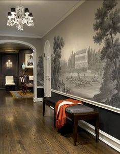 Grisaille Mural- Design by Morgante-Wilson Architects. Decoration Hall, Entryway Decor, Entryway Ideas, Room Decorations, Interior And Exterior, Interior Design, Eclectic Design, Chinoiserie Wallpaper, Zuber Wallpaper