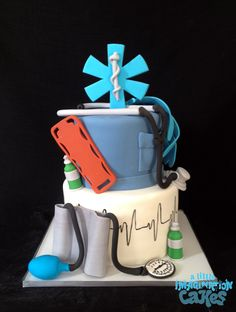 EMT Paramedic inspired cake by A Little Imagination Cakes Unique Cakes, Creative Cakes, Ambulance Cake, Cake Cookies, Cupcake Cakes, Cupcakes, Medical Cake, Doctor Cake, Specialty Cakes