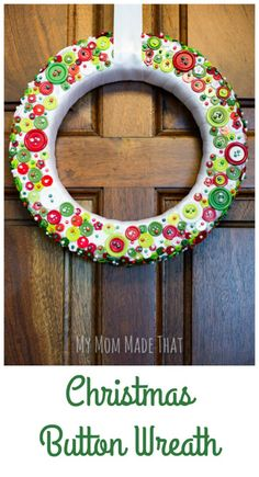Christmas Button Wreath  Button wreath Christmas buttons and