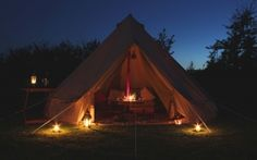 Over night accommodation for Yoga Glamping at Croyde, Devon: Our beautiful bell tents all have sumptuous rustic furnishings to promote deep sleep and comfort.  http://www.bluefizzevents.co.uk/yogaglamp/