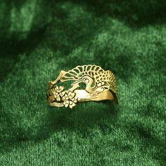 Japanese crane ring gold