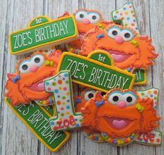 Zoe Sesame Street Birthday Cookies by Flourish Elmo Birthday, Birthday Cookies, First Birthday Parties, First Birthdays, Birthday Ideas, Kid Parties, Birthday Stuff, Birthday Decorations, Sesame Street Cookies