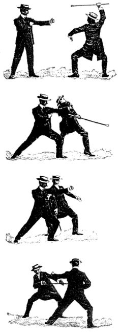 """E.W. Barton-Wright, 1901, """"Self-defence with a Walking-stick: The Different Methods of Defending Oneself with a Walking-Stick or Umbrella when Attacked"""", published in Pearson's Magazine"""
