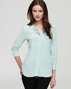 aa93b610a3365a Ash Green Equipment Blouse Lynn Super Vintage Wash Collarless Silk Summer  Wardrobe
