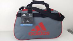NWT ADIDAS Diablo Small II Duffel Bag Gray Black Red Sport Gym Carry On Expandab #adidas #ebay #adidas #DiabloSmallDuffelBag