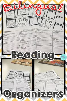 Bilingual graphic organizers for reading comprehension for elementary students in first grade and second grade. Printable worksheets for note taking help students compare and contrast, create a story map, sequence, identify the main idea, and many more skills. These reading organizers can be used for any fiction and non-fiction books.  All graphic organizers are available in English and Spanish.