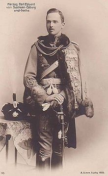 Charles Edward, Duke of Saxe-Coburg and Gotha. He was the son of Queen Victoria's son Leopold, who died 4 months before Charles was born.  He joined the Nazi party and was imprisoned, heavily fined and almost bankrupted after WWII.  He died in seclusion in 1955, almost completely ostracized by the British Royal family.