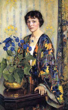 Lee Lufkin Kaula - (American artist, 1865 – 1957) - The Silk Kimono