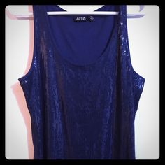 Apt. 9 Sequin Tank GORGEOUS Apt. 9 Sequin Tank - Dark Blue - NWOT - EXCELLENT CONDITION! Great for a fun night out! Apt. 9 Tops Tank Tops