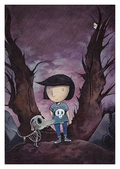 Even though T. S. Spookytooth's illustrations have colour it still has a bit of darkness to it. He has a very simple style of drawing and does not always complicate things. Another thing that inspired me was the way that nobody really knows who he is and how he is very mysterious. This is a very different look and feel to other illustrators as people know his work but don't actually know the person.