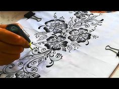 Beautiful Creative Liquid Embroidery Design on White Kurti/ Fabric Paint. Fabric Painting On Clothes, Painted Clothes, Embroidery Designs, Hand Embroidery, Fabric Paint Designs, Fabric Design, Beautiful Flower Designs, Hand Painted Fabric, Textiles