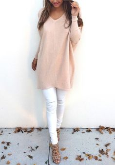 Stay comfy all day in this apricot sweater. Features with long sleeve and v neck design, pairing it with your tight pants would be perfect. See more amazing items at Fichic.com!