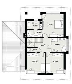 DOM.PL™ - Projekt domu TP Enes CE - DOM TP2-48 - gotowy koszt budowy House Outside Design, Design Case, Floor Plans, How To Plan, Floor Plan Drawing, House Floor Plans
