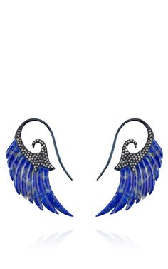 Exclusived Lapis Lazuli Wing Earrings with 18K Blue Rhodium Gold Set with Diamonds by Noor Fares for Preorder on Moda Operandi