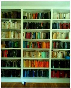Rainbows on bookshelves brighten any room.