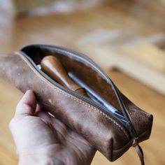 Leather Pencil Case // Zipper Pouch. $38.00, via Etsy.
