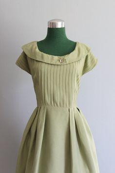 1950s Teena Paige Mint Linen Dress