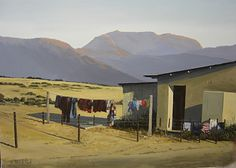 Great Karoo Wash day by Rika De Klerk Oil ~ x Landscape Art, Landscape Paintings, African Colors, Vernacular Architecture, South African Artists, House Painting, Figurative Art, Painting Inspiration, Places To Go