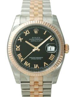 Rolex Datejust 36 116231 Schwarz Römisch Jubile-Band