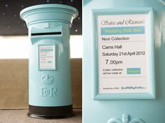 Pale blue wedding cards post box