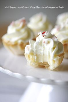Mini Peppermint White Chocolate Cheesecake Tarts...no bake...uses Athens Mini Fillo Shells