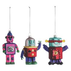 ROBOT Set of 3 multi-coloured glass robot Christmas tree decorations