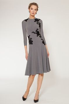 Lace Applique Half-Sleeve A-Line Dress