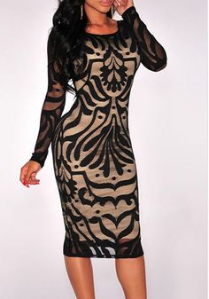 Black Floral Hollow-out Print Round Neck Long Sleeve Sexy Midi Dress