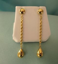 18K Yellow Gold Long Flirty Dangle Pierced Earrings