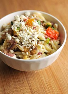 Tasty and easy Roasted Vegetable Orzo Salad Recipe from @wearsmanyhats