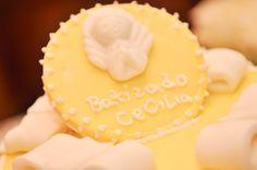 TTopo do bolo Batizado Amarelo e Branco