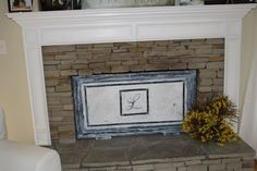 diy fireplace screen using a picture frame--this gives me some ideas :) Fireplace Redo, Fake Fireplace, Fireplace Cover, Rustic Fireplaces, Fireplace Screens, Fireplace Surrounds, Fireplace Ideas, Fireplace Stone, Mantel Ideas