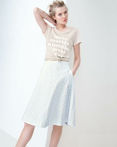 Wear Now: White - J.Crew - Spring 2014 - J.Crew vintage cotton tee in weekdays, eyelet midi skirt.