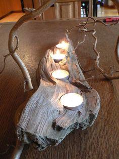 Driftwood art, Driftwood candle holder, 4 votive mantle piece, Rustic candle holder, beach decor, Cabin decor