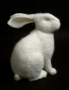 Rabbit by Stephanie Metz: Made of felted wool. #Rabbit #Sculpture #Wool