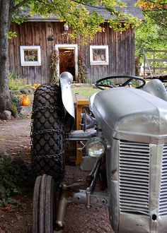 Country in Gray and Brown with silver gray tractor