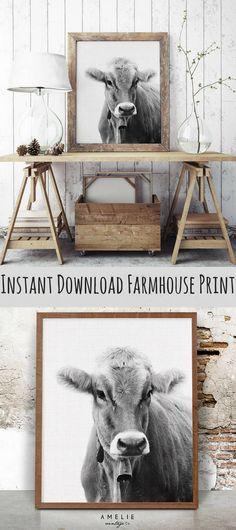 Cow Wall Art Print, Farmhouse Decor, Black and White Farm Animal Photography, Rustic Home Decor, Printable Large Poster, Digital Download **This is an affiliate link.