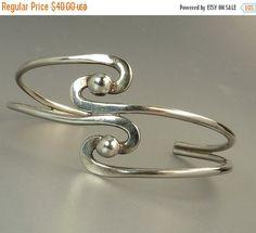 Vintage Sterling Silver Mexico Cuff Bracelet Modernist by jujubee1