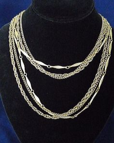 """Vintage Triple Strand Long Gold Tone Chain Layered Necklace 24"""" Lovely &…"""